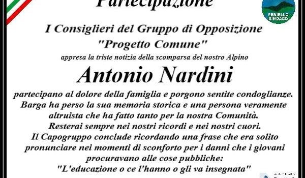 I consiglieri di Progetto Comune partecipano al dolore della famiglia per la scomparsa di Antonio Nardini